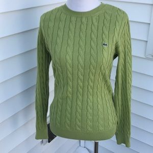 Lacoste Sweaters - Lacoste green cable cotton sweater